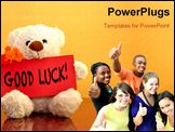 PowerPoint Template - Teddy with red cart and flowers saying: Good luck!