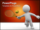 PowerPoint Template - 3d abstract human plaiy tennis and hit a ball