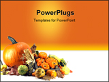 PowerPoint Template - Traditional symbols of Thanksgiving Day Pumpkins Squash.