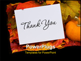 PowerPoint Template - A thank you card with a gourd sitting on a fall leaf background thank you