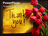 PowerPoint Template - thank you message handwritten on gold sticker isolated on gray background