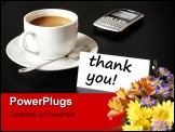 PowerPoint Template - thank you or thanks concept with cup of coffee on black background