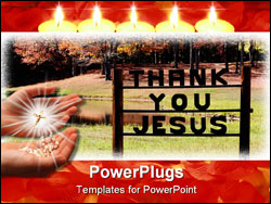 PowerPoint Template - Large sign showing Praises to God in foreground of autumn landscape scene.