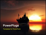 PowerPoint Template - The military ship in the sea