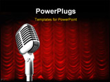 PowerPoint Template - mic over red swag theater curtain background.