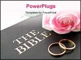 PowerPoint Template - one pink rose and two wedding bands on the bible