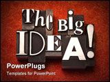 PowerPoint Template - The phrase The Big Idea! done in old letterpress type on a red fabric background.