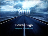 PowerPoint Template - Lightning strike in the darkness above the road