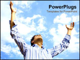 PowerPoint Template - Man throwing his arms up while looking to the sky.