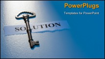 PowerPoint Template - A key laying on a piece of paper with the word solution on it