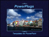 PowerPoint Template - Navy blue template with a photo of riverside and colorful houses in a frame