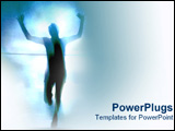 PowerPoint Template - Man running through rope at marathon.
