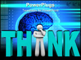 PowerPoint Template - A man stands in place of the letter i in the word Think