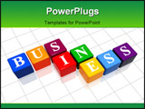 PowerPoint Template - 3d colour boxes with text - business word