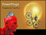PowerPoint Template - Light bulb and gear work composition. Digital illustration.