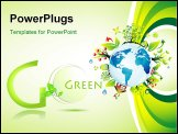 PowerPoint Template - Think green to save the planet background with high contrast colors