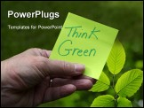 PowerPoint Template - reen Eco Innovation sustainability concept, Person holding green sticky note with Think Green writt
