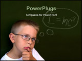PowerPoint Template - Photo of pensive lad by the blackboard touching his chin while thinking of difficult formula