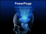 PowerPoint Template - Concept of thinking. Your brain is a big chip (processor) with high potency data processing.