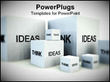 PowerPoint Template - A conceptual image of a set of boxes with the words think and ideas on them.
