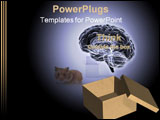 PowerPoint Template - X-Ray of a brain hovering outside a cardboard box with lid.