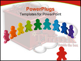 PowerPoint Template - Social and Business concepts illustrated with colorful wooden people.