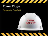 PowerPoint Template - Think safety message on the back of a hard hat.