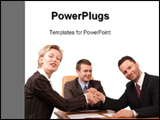 PowerPoint Template - Three business people handshake-Deal-Isolated