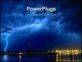 PowerPoint Template - big luminous thunder at sea on a dark blue sky