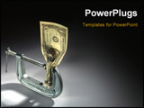 PowerPoint Template - Single Dollar bill crushed in an adjustable clamp