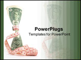 PowerPoint Template - Measuring tape over money, budgeting, measure money, tight budget. Money upright