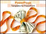PowerPoint Template - a wad of fifty and hundred dollar bills tied up in a tape measure