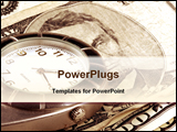 PowerPoint Template - USA currency and a pocket watch portray time and money.