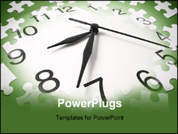 PowerPoint Template - Jigsaw Puzzle Pieces and Clock in Green Tone