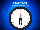 PowerPoint Template - business man in a clock pointing at a certain time