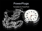 PowerPoint Template - A pocket watch on a black reflective surface shows elegance and style.