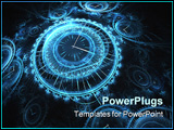 PowerPoint Template - abstract blue and black 3D rendering of timepieces