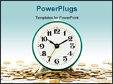PowerPoint Template - Isolated photo of clock on background of money as illustration of aphorism Time is money.