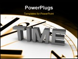 PowerPoint Template - 3D text saying time, text is sitting on old fashioned clock