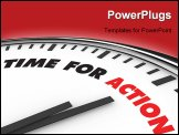 PowerPoint Template - White clock with words Time for Action on its face