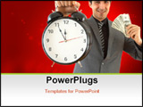 PowerPoint Template - businessman with clock and US dollars on white shallow dof