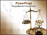 PowerPoint Template - The money is blurred the focus is the hourglass.
