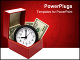 PowerPoint Template - money and clock in red fancy box with clipping path on white background