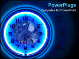 PowerPoint Template - Blue neon clock with coins Time is Money.