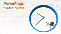 PowerPoint Template - Businessman carrying briefcase run around a clock 3d illustration