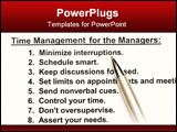 PowerPoint Template - 8 tips of time management for the managers