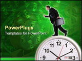 PowerPoint Template - A handsome business man running on a large clock
