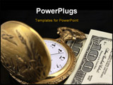 PowerPoint Template - time and money concept - pocket watch and US currency