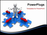 PowerPoint Template - 3d person standing on a jigsaw puzzle with arrow pointing in four directions.