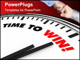PowerPoint Template - White clock with words Time to Win on its face